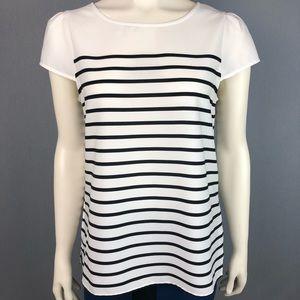Loft White & Black striped blouse size medium